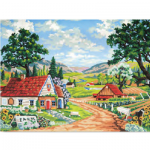 """Канва с рисунком для вышивания гобелена """"Милая деревушка"""" 40х50см """"Grafitec"""" (Греция)"""