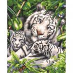 """Канва с рисунком для вышивания гобелена """"Белый тигр и детёныши"""" 50х60см """"Grafitec"""" (Греция)"""