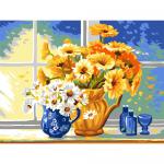 """Канва с рисунком для вышивания гобелена """"Жёлтые и белые маргаритки"""" 50х60см """"Grafitec"""" (Греция)"""