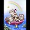 """Канва с рисунком для вышивания гобелена """"Радужные котята"""" 30х40см """"Grafitec"""" (Греция)"""