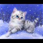 """Канва с рисунком для вышивания гобелена """"Котёнок в снегу"""" 30х40см """"Grafitec"""" (Греция)"""