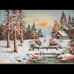 "Канва с рисунком для вышивания гобелена ""Зимний закат"" 30х40см ""Grafitec"" (Греция)"