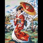 """Канва с рисунком для вышивания гобелена """"Японская девушка с зонтом"""" 60х75см """"Gobelin Diamant"""""""