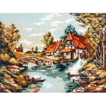 "Канва с рисунком для вышивания гобелена ""Мельница у реки"" 60х75см ""Gobelin Diamant"""