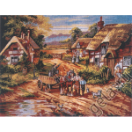 "Канва с рисунком для вышивания гобелена ""Село"" 60х75см ""Gobelin Diamant"""
