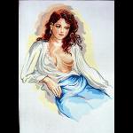 """Канва с рисунком для вышивания гобелена """"Задумчивая леди в шелковой блузке"""" 60х80см """"Gobelin Diamant"""""""