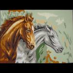 "Канва с рисунком для вышивания гобелена ""Два коня"" 60х80см ""Gobelin Diamant"""