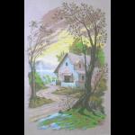 """Канва с рисунком для вышивания гобелена """"Дом у озера"""" 60х80см """"Gobelin Diamant"""""""