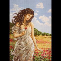 """Канва с рисунком для вышивания гобелена """"Девушка в маках"""" 60х80см """"Gobelin Diamant"""""""