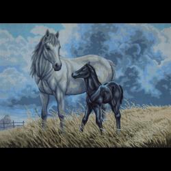"""Канва с рисунком для вышивания гобелена """"Лошадь с жеребёнком"""" 60х80см """"Gobelin Diamant"""""""