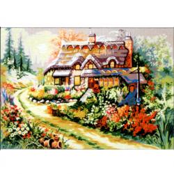 """Канва с рисунком для вышивания гобелена """"Цветущий палисадник"""" 60х45см """"Gobelin Diamant"""""""