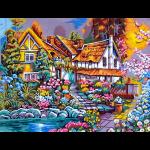 """Канва с рисунком для вышивания гобелена """"Домик в цветах"""" 60х48см """"Gobelin Diamant"""""""