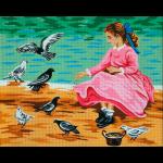 """Канва с рисунком для вышивания гобелена """"Голуби и девочка"""" 60х45см """"Gobelin Diamant"""""""