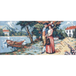 "Канва с рисунком для вышивания гобелена ""Прогулка у реки"" 125х60см ""Gobelin Diamant"""