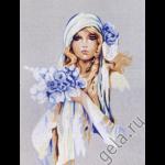 """Канва с рисунком для вышивания гобелена """"Дама в голубом"""" 50х40см """"Gobelin Diamant"""""""