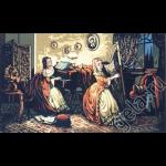 """Канва с рисунком для вышивания гобелена """"Девушка с арфой"""" 100х60см """"Gobelin Diamant"""""""