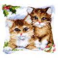 """Набор для вышивания Подушка """"Кошки на снегу"""" 40х40см """"Vervaco"""""""