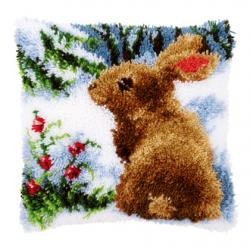 """Набор для вышивания Подушка """"Кролик на снегу"""" 40х40см"""