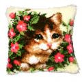 """Набор для вышивания Подушка """"Кот в цветах"""" 40х40см """"Vervaco"""""""