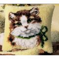 """Набор для вышивания Подушка """"Кот с зеленым бантиком"""" 40х40см """"Vervaco"""""""