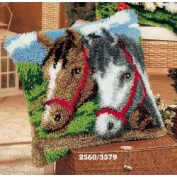 """Набор для вышивания Подушка """"Лошади"""" 40х40см"""