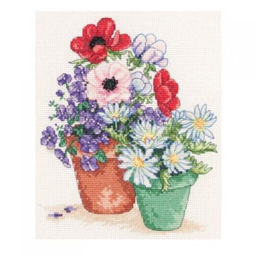 """Набор для вышивания """"цветы в горшках"""" """"anchor""""."""