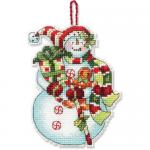 """Набор для вышивания елочной игрушки """"Снеговик со сладостями"""" """"Dimensions"""""""