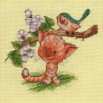 """Набор для вышивания """"Кот и птица"""" """"Кларт"""""""