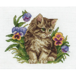 """Набор для вышивания """"Котёнок в фиалках"""" """"Кларт"""""""