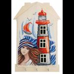 """Набор для вышивания """"Ключница. Девушка у моря"""" с пришивной рамкой """"Марья Искусница"""""""