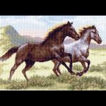 """Канва с рисунком """"Бегущие кони"""" """"Матренин Посад"""""""