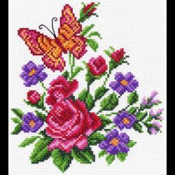 """Канва с рисунком """"Цветы и бабочка"""" """"Матренин Посад"""""""