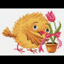"""Канва с рисунком """"Цыплёнок с тюльпаном"""" """"Матренин Посад"""""""