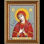 """Ткань с рисунком для вышивания бисером """"Богородица «Семистрельная»"""" """"Нова Слобода"""""""
