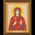 """Ткань с рисунком для вышивания бисером """"Св. Мц. Кристина (Христина) Тирская"""" """"Нова Слобода"""""""