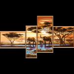 """Ткань с рисунком для вышивания бисером """"Африканские слоны"""" """"Нова Слобода"""""""