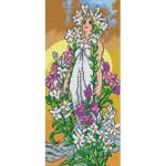"""Канва-страмин с рисунком OR2216 """"Альфонс Муха. Лилия"""" 25х51см """"Orchidea"""""""