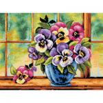 "Канва-страмин с рисунком OR2496-W ""Анютины глазки"" 30х40см ""Orchidea"""