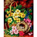 """Канва-страмин с рисунком OR2646 """"Гнездо в цветах"""" 24х30см """"Orchidea"""""""