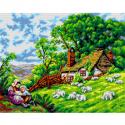 """Канва-страмин с рисунком OR2781 """"Маленькие пастухи"""" 40х50см """"Orchidea"""""""