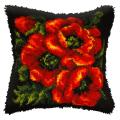 """Набор для вышивания Подушка ковровая OR4052 """"Маки на чёрном"""" 40х40см """"Orchidea"""""""