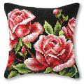 """Набор для вышивания Подушка OR9117 """"Розовый куст на чёрном"""" 40х40см """"Orchidea"""""""