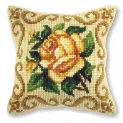 """Набор для вышивания Подушка OR9165 """"Жёлтая роза в узоре"""" 40х40см """"Orchidea"""""""