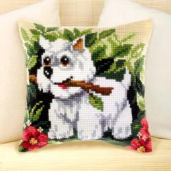 """Набор для вышивания Подушка OR9169 """"Белый щенок"""" 40х40см """"Orchidea"""""""