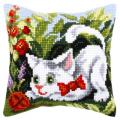 """Набор для вышивания Подушка OR9172 """"Белый котёнок"""" 40х40см """"Orchidea"""""""