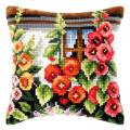 """Набор для вышивания Подушка OR9182 """"Мальва под окном"""" 40х40см """"Orchidea"""""""