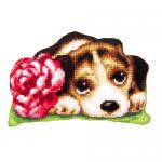 """Набор для вышивания Подушка фигурная OR9343 """"Щенок с розой"""" 34х47см """"Orchidea"""""""