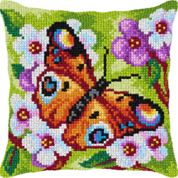 "Набор для вышивания Подушка OR9379 ""Оранжевая бабочка"" 40х40см ""Orchidea"""