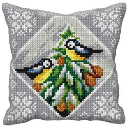 """Набор для вышивания Подушка OR9542 """"Птицы на ёлке"""" 40х40см """"Orchidea"""""""