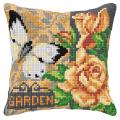 """Набор для вышивания Подушка OR9555 """"Бабочка и кремовые розы"""" 40х40см """"Orchidea"""""""